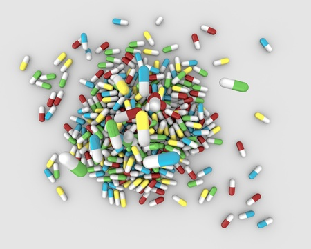 top view of many pills in different colors that fall in the floor forming a pile (3d render) photo