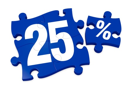 some puzzle pieces with the number 25 and the percent symbol (3d render)