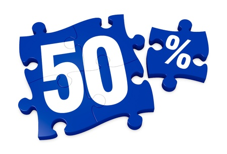 number 50: algunas piezas de un rompecabezas con el n�mero 50 y el s�mbolo de porcentaje (3d)