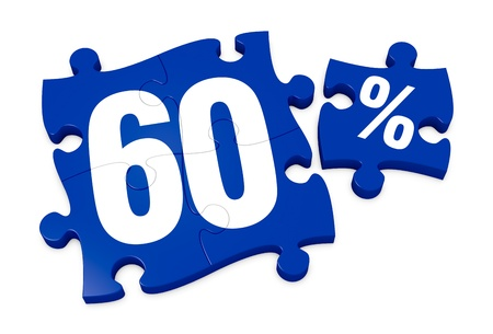 reduction: some puzzle pieces with the number 60 and the percent symbol (3d render)