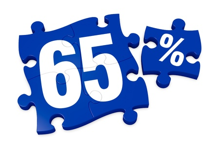 some puzzle pieces with the number 65 and the percent symbol (3d render) Stock Photo - 12519664