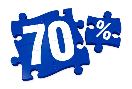 reduction: some puzzle pieces with the number 70 and the percent symbol (3d render)