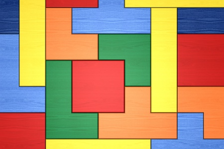 tetris: closeup of a wooden puzzle made with blocks of different shape and color (3d render)