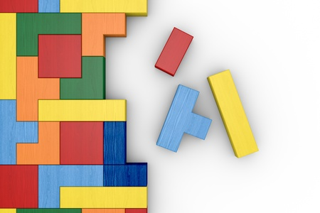 abstract 3d blocks: closeup of a wooden puzzle made with blocks of different shape and color (3d render)