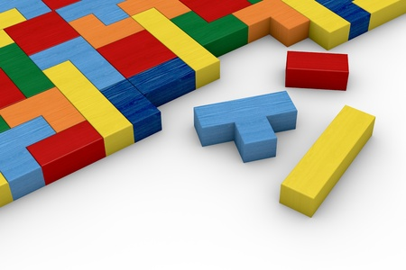 closeup of a wooden puzzle made with blocks of different shape and color (3d render) Stock Photo - 12519694