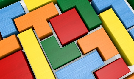closeup of a wooden puzzle made with blocks of different shape and color (3d render) photo