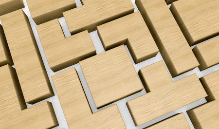 tetris: closeup of a wooden puzzle made with blocks of different shape (3d render) Stock Photo