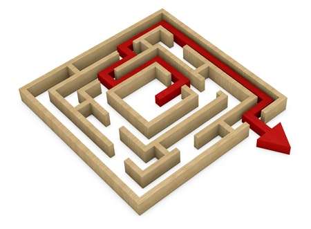 one wooden maze with an arrow that shows the exit (3d render) photo
