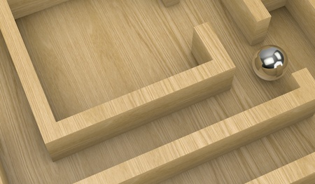 difficult to find: closeup of a wooden maze with a sphere (3d render) Stock Photo