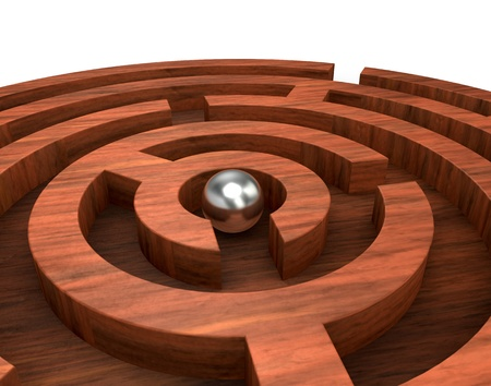 difficult to find: closeup of a round wooden maze with a sphere in the start position (3d render)