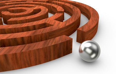one wooden round maze with a sphere on the exit (3d render) photo