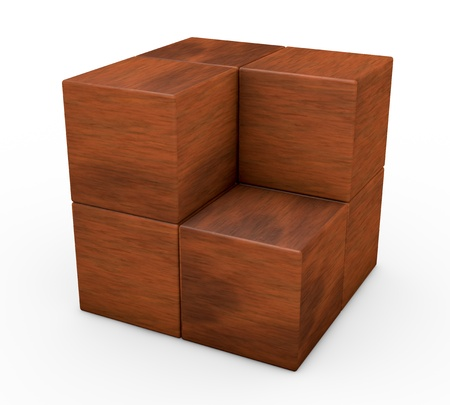 one puzzle made with cubes, one piece is missing (3d render) Stock Photo - 12519684
