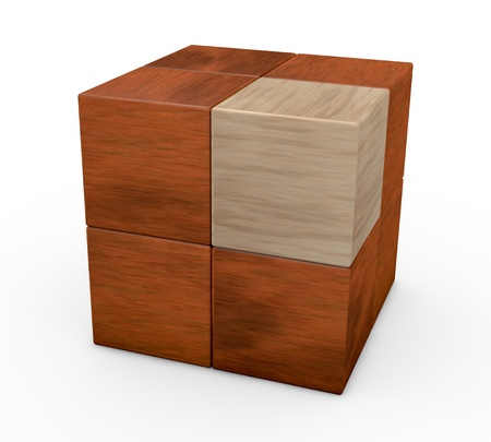 one wooden puzzle cube with a piece in different color (3d render) Banco de Imagens