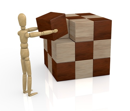 one wooden dummy that solves a cube puzzle (3d render) photo