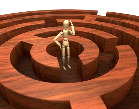 dummies: one wooden round maze with a wooden dummy in the start position (3d render)