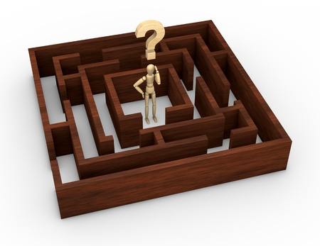 one wooden maze with a wooden dummy and a question mark in the start position (3d render) photo