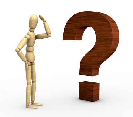 one wooden dummy in front of a question mark (3d render) photo
