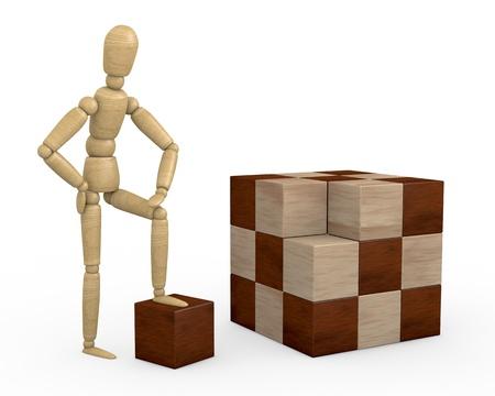 marioneta de madera: un muñeco de madera con un cubo rompecabezas sin resolver (3d)