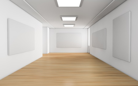 one showroom with a wooden floor and blank panels on the walls  3d render  photo
