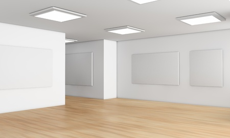 art museum: one showroom with a wooden floor and blank panels on the walls  3d render