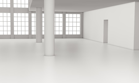 one loft with big windows, all white  3d render  photo