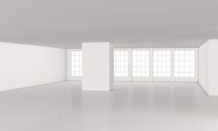 one loft with big windows, all white  3d render Stock Photo - 12519709