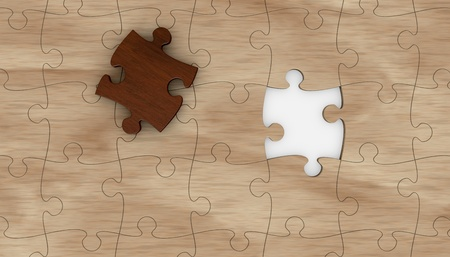 incomplete: one wooden puzzle with one piece in different color  the puzzle is incomplete  3d render