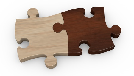 puzzle pieces: two puzzle pieces in different color  the pieces are joined together  3d render