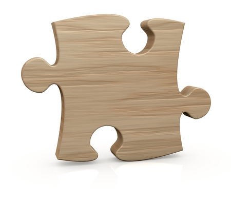 one wooden piece of a jigsaw puzzle  3d render Stock Photo - 12519707
