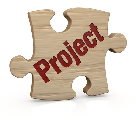 requirement: one wooden puzzle piece with the word  project  3d render  Stock Photo