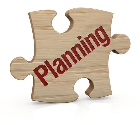 one wooden puzzle piece with the word  planning  3d render  photo