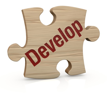 one wooden puzzle piece with the word: develop (3d render) photo