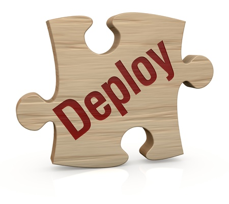 schedule system: one wooden puzzle piece with the word: deploy (3d render)
