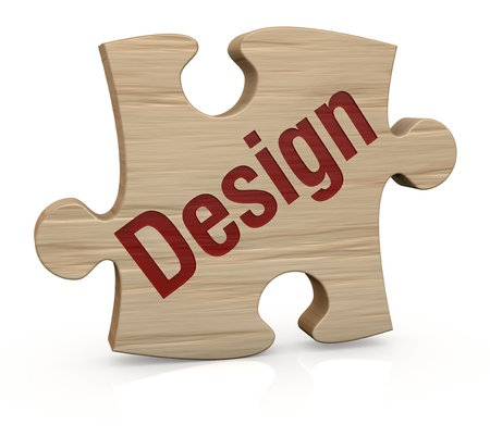 one wooden puzzle piece with the word: design (3d render) photo