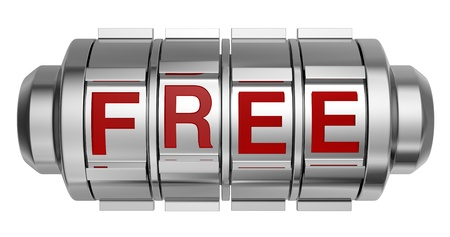 gratis: one combination lock with the word: free (3d render)
