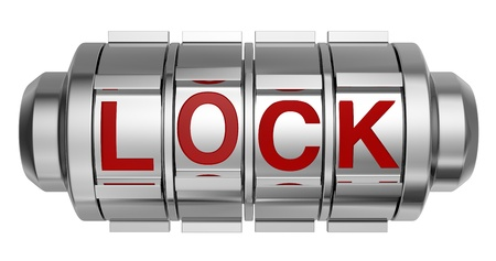 encoded: one combination lock with the word: lock (3d render) Stock Photo