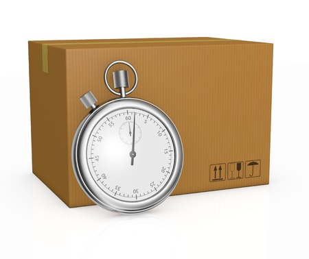 fast delivery: one big carton with a stopwatch in front of it, concept of fast delivery (3d render) Stock Photo