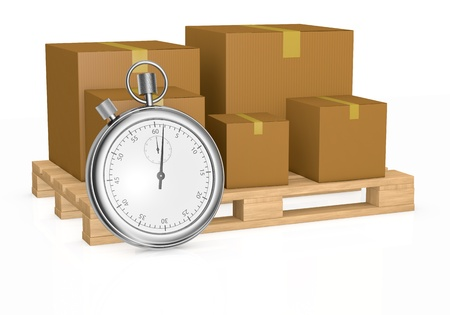 courier delivery: one pallet and some cartons with a stopwatch in front of it, concept of fast delivery (3d render)