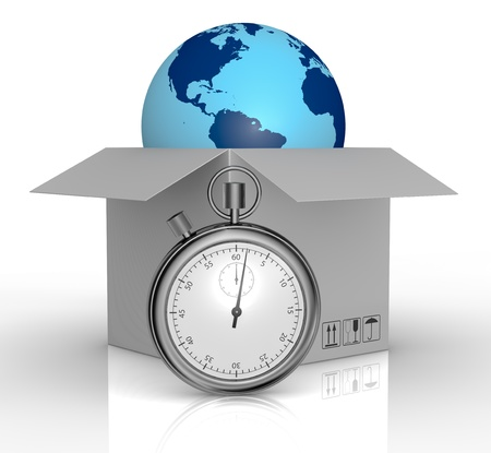 one carton and a world globe coming out with a stopwatch in front of them, concept of fast delivery (3d render) photo