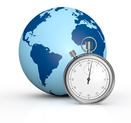 courier delivery: one world globe with a stopwatch in front of it, concept of fast delivery (3d render) Stock Photo