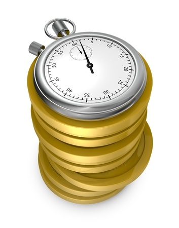one stopwatch on top of a pile of gold coins (3d render) photo