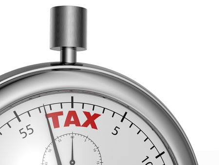 one stopwatch with the word tax printed on the dial (3d render) photo