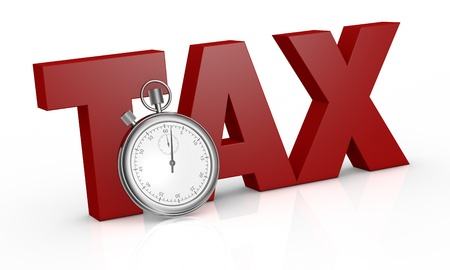 tax: the word tax with a stopwatch on front of it (3d render) Stock Photo