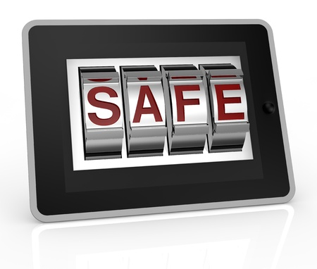 one tablet pc with a combination lock and the word: safe (3d render) photo
