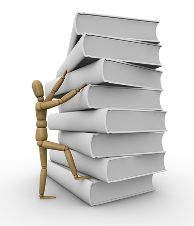 one pile of white books with a wooden dummy climbing it (3d render) photo