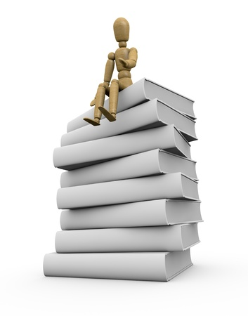 one pile of white books with a wooden dummy sitting on it (3d render) photo