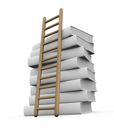 data dictionary: one pile of white books with a stair (3d render)