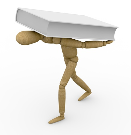 difficult to find: one wooden dummy in trouble to bring in a heavy book (3d render)