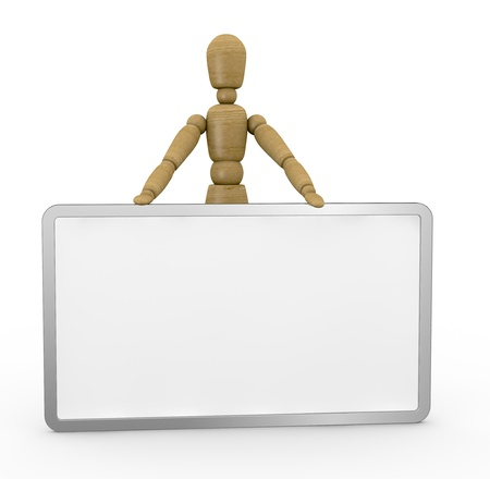 one wooden dummy with a whiteboard with space for custom text or image (3d render) photo