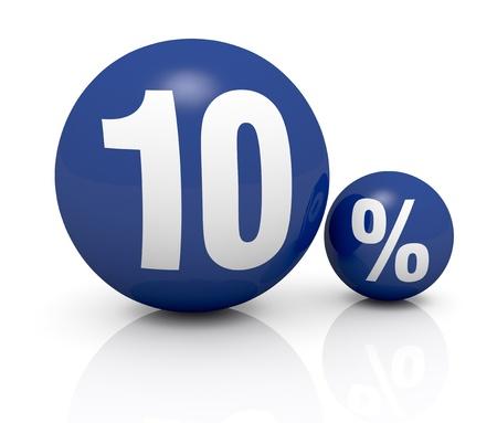 numero diez: dos esferas azules, uno con el número 10 y el otro con el símbolo de porcentaje (3d)